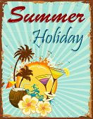 image of beach party  - illustration of summer holiday poster with palm tree and coconut - JPG