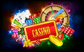 pic of poker machine  - illustration of different casino object with board - JPG