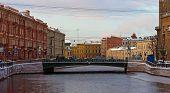 stock photo of sankt-peterburg  - Fonarny Bridge through the river Moika Sankt - JPG