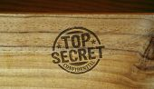 Top Secret Confidential Stamp Printed On Wooden Box. Government, Business, Legal And Non Public Docu poster
