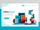Vector Illustration For Online School Landing Page. Mobile Apps For Education And Learning. Video Tu poster