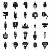Adapter Cable Icons Set. Simple Set Of Adapter Cable Vector Icons For Web Design On White Background poster