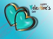 Sketch Card With Blue Two Realistic Heart On Transparent Background For Decorative Design. Abstract  poster
