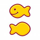 Fish Shaped Salty Crackers. Vector Illustration In Cute Cartoon Style. poster