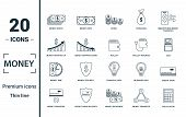 Money Icon Set. Include Creative Elements Money Notes, Coins, Money Graphic Up, Wallet Charge, Money poster