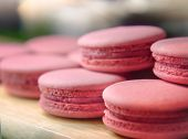 Selective Focus Of French Strawberry Macaroons, Sweet Pink Almond Macarons Or French Sweet Cookie. poster