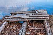 Old Bridge On The Bog Lake. Sunset In The Swamp, Golden Marsh, Water And Nature Environment. Sundown poster