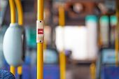 Red Stop Button For Bus Or Tram. Press The Button To Request The Bus Driver For Get Off At The Next  poster