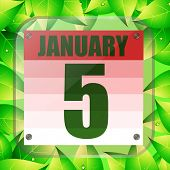 January 5 Icon. Calendar Date For Planning Important Day With Green Leaves. Banner For Holidays And  poster