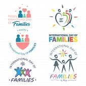 Set Of Colorful Design International Day Of Families. Design Letter International Day Of Families Fo poster