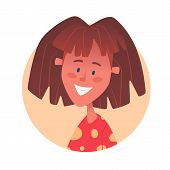 Teenage Thin Girl With Brunette Hairstile. Vector Illustration poster