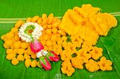 image of yoke  - thai dessert thai sweets on the leafmade of bean - JPG
