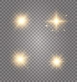 Set Of Golden Glowing Lights Effects Existing On A Transparent Background. Glowing Light Explodes. A poster