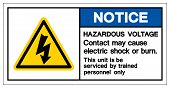 Notice Hazardous Voltage Contact May Cause Electric Shock Or Burn Symbol Sign, Vector Illustration,  poster