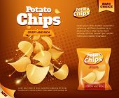 Potato Chips Bag, Vector Design Of Snack Food Advertising Poster. Crunchy And Salty Slices Of Deep F poster