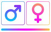 Pink And Blue Female And Male Spectrum Signs Isolated On White Background. Vector Sign. poster
