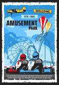 Amusement Park Rides And Funfair Carnival Attractions, Vector Poster. Kites Show And Karting Rides,  poster