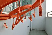 Clip Square Clothes Hanger And Clothes Hangers At The Outdoor Area In Room. poster