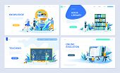 Set Of Landing Page Template For Education, Knowledge, Book Library, Teaching. Modern Vector Illustr poster