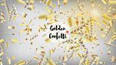 Modern Realistic Gold Tinsel Confetti, Flying Foil Blast. Cool Rich Vip Christmas, New Year, Birthda poster