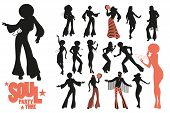 Soul Dance Clipart Collection. Set Of Soul, Funk Or Disco Dancers Isolated On White Background. poster