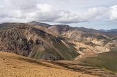 Landmannalaugar Colorful Mountains On The Laugavegur Hiking Trail. Iceland. The Combination Of Layer poster