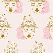 Books, Woman And Celestial Elements In A Seamless Pattern Design poster