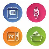 Set Line Slow Cooker , Smart Watch Showing Heart Beat Rate , Tv Box Receiver And Player With Remote  poster