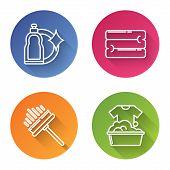 Set Line Plastic Bottles For Liquid Dishwashing Liquid, Towel Stack , Squeegee, Scraper, Wiper And P poster