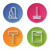 Set Line Vacuum Cleaner , Mop , Squeegee, Scraper, Wiper And Washer . Color Circle Button. Vector poster