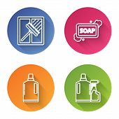 Set Line Squeegee, Scraper, Wiper, Bar Of Soap With Foam , Plastic Bottles For Liquid Dishwashing Li poster