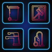 Set Line Vacuum Cleaner , Water Tap , Trash Can And Squeegee, Scraper, Wiper. Gradient Color Icons.  poster