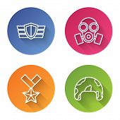 Set Line Military Reward Medal , Gas Mask , Military Reward Medal And Military Helmet . Color Circle poster