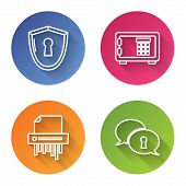Set Line Shield With Keyhole , Safe , Paper Shredder Confidential And Protection Of Personal Data .  poster