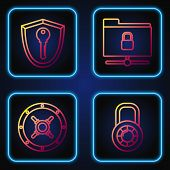 Set Line Safe Combination Lock Wheel , Safe , Shield With Key And Ftp Folder And Lock . Gradient Col poster