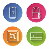 Set Line Smartphone With Lock , Safe Combination Lock , Safe And Bricks . Color Circle Button. Vecto poster
