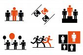 Leadership and benefits icon set. Conceptual symbols. poster