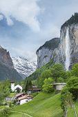 Idyllic Landscape Of Lauterbrunnen Valley In Bernese Alps, Switzerland. poster