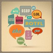Most common used acronyms and abbreviations on retro style speech bubbles.