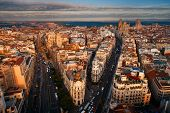 Aerial view of Gran Via shopping area in Madrid, Spain. poster