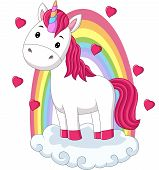 Vector Illustration Of Cartoon Baby Pony Unicorn Standing On Clouds With Rainbow poster