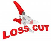 The Concept Of Loss Cuts. The Pruner Cuts Red Text Loss Cut. Isolated. 3d Illustration poster