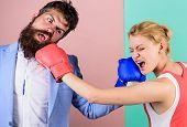 Gender Battle. Gender Equal Rights. Family Quarrel. Boxers Fighting In Gloves. Domination Concept. G poster