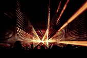 Orange Laser Show Nightlife Club Stage With Party People Crowd. Luxury Entertainment With Audience S poster