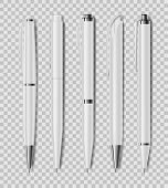 Set Of Office White Pens Isolated On Transparent Background. Office Stationery, Realistic Pen. Vecto poster