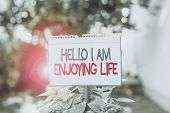 Word Writing Text Hello I Am Enjoying Life. Business Concept For Happy Relaxed Lifestyle Enjoy Simpl poster