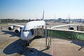 JOHANNESBURG - APRIL 18:Airbus A380 disembarking passengers after intercontinental flights on April