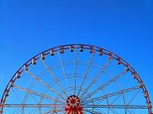 Horizontal Image With Partly Visible Bright Red Panoramic Or Observation Wheel With Few Empty Red, G poster