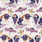 Seamless Pattern Design With Galactic Ice. Ream Planets And Ice Cream And Celestials poster