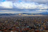Stunning Aerial View Over The City Of Athens Against Cloudy Sky. Famous Touristic Place And Travel D poster